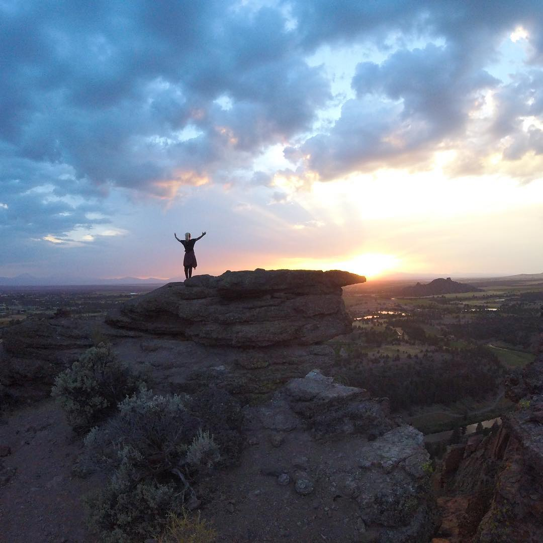 Celebrating #TravelTuesday with our guy, @kyleohlson! He took off for #SmithRock just in time to capture @evehess soaking in a gorgeous sunset. Where are you heading next? #GoProTravel #Wanderlust
