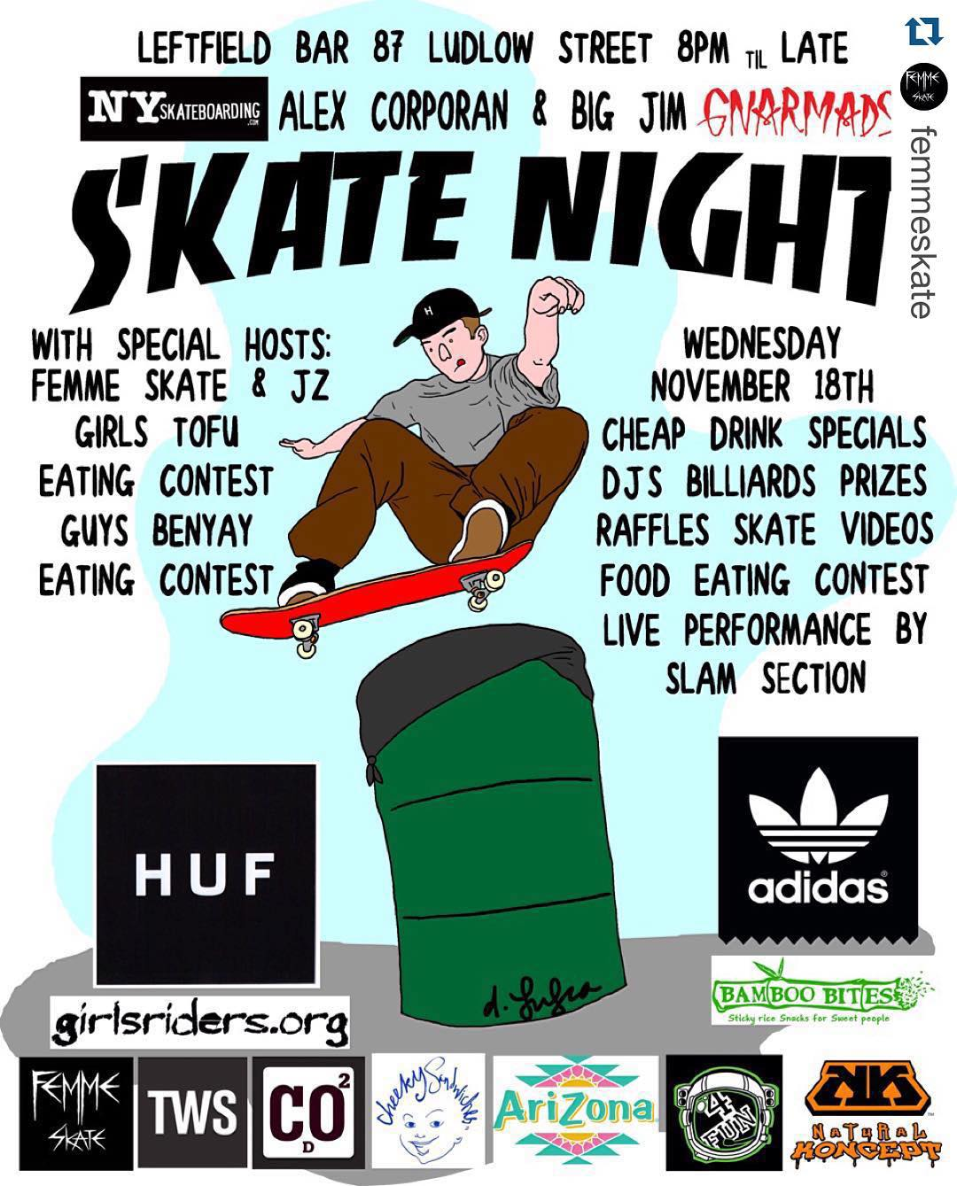 Come by tomorrow night and see the @femmeskate NYC female skate film