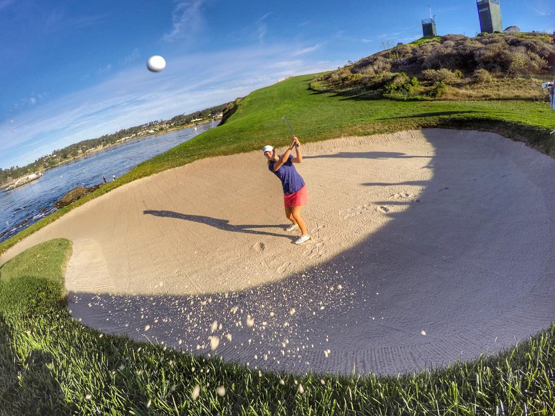 @FirstTeeOpen #golfer @Nicole_Schro blasts out of the bunker on #7 at @PebbleBeachResorts. #GoProGolf #GoProGirl