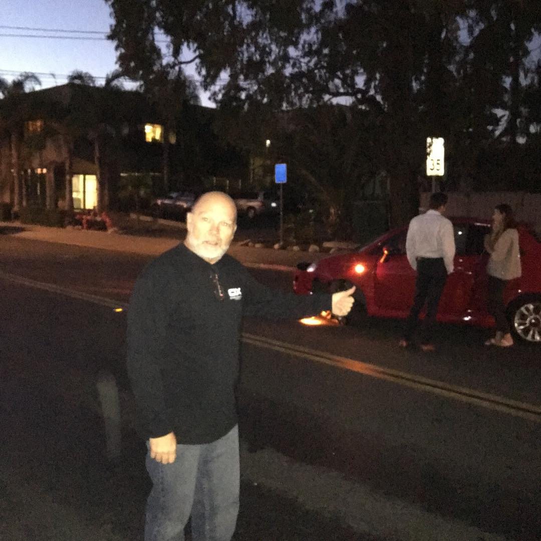 Pow! Car crash in front of BBR headquarters, Cordell Surfboards, and Estrada Surfboards.  BBR Sales Rep, Donnie, The Mayor, Dumain directs traffic to keep drivers safe at night. Way to go Mayor Donnie!  #bbr #bbrsurf #bbrsurfwear #buccaneerboardriders...