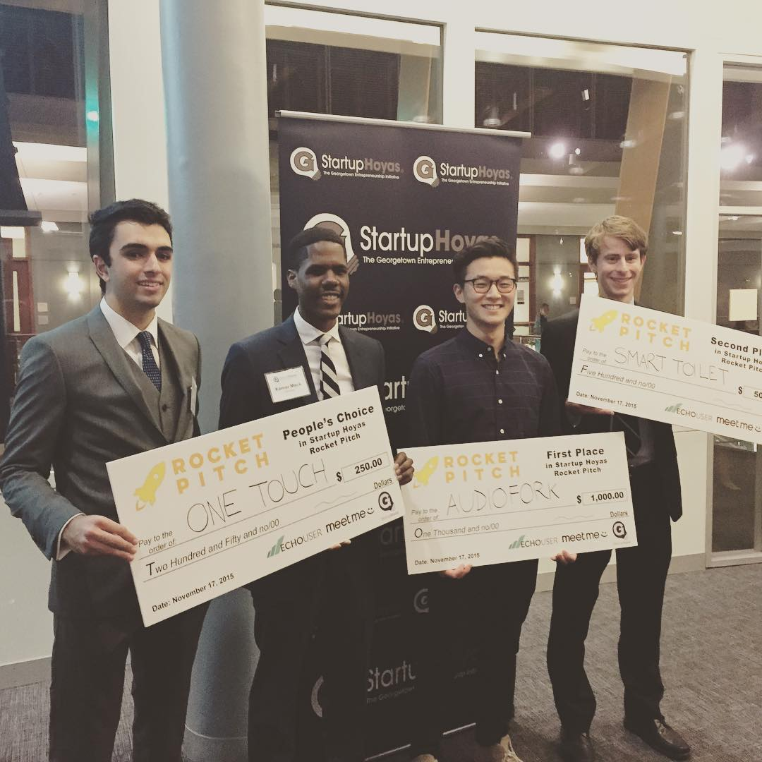Congrats to the winners from #georgetown #rocket #pitch #startups @hoyapreneur @startuphoyas #dctech