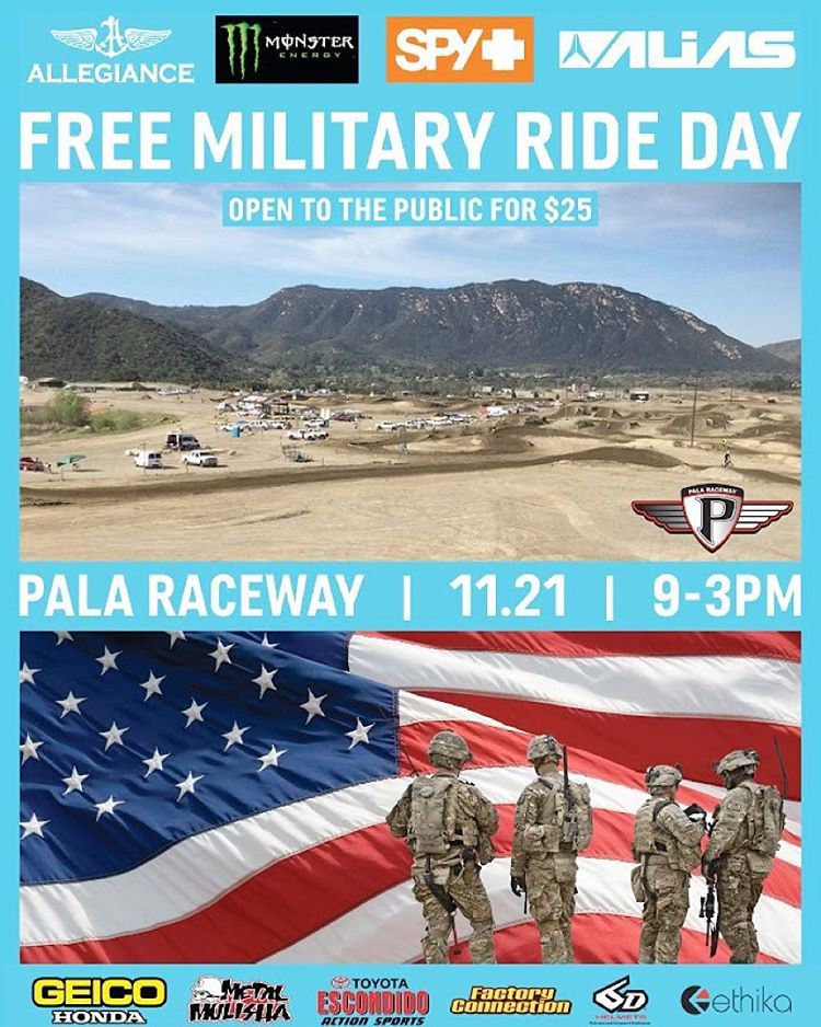 If your in #SoCal please join us and @MonsterEnergy @SpyOptic @AliasMX @Ethika @6DHelmets and many more for a #FREE #Military #RideDay
