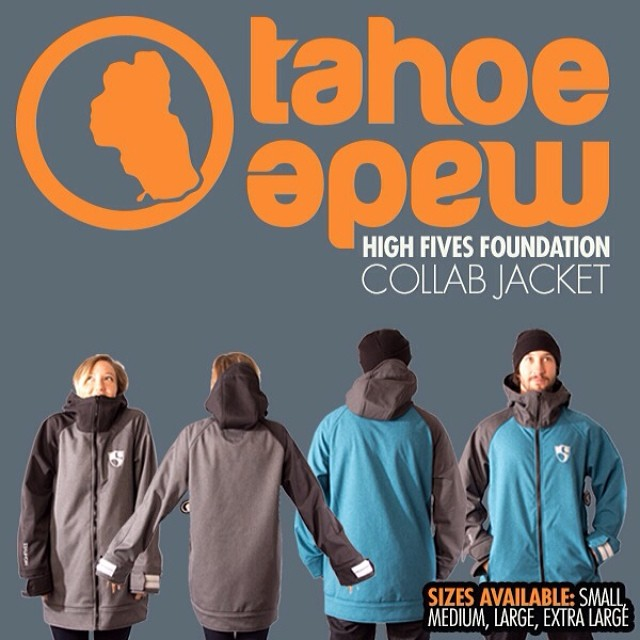 "Get your Limited Edition @tahoemade | @hi5sfoundation Collab Jacket before they sell out! Colors: blue & charcoal | Sizes: small, medium, large & x-large | highfivesfoundation.org | ""This Jacket Helped an Athelete!"""