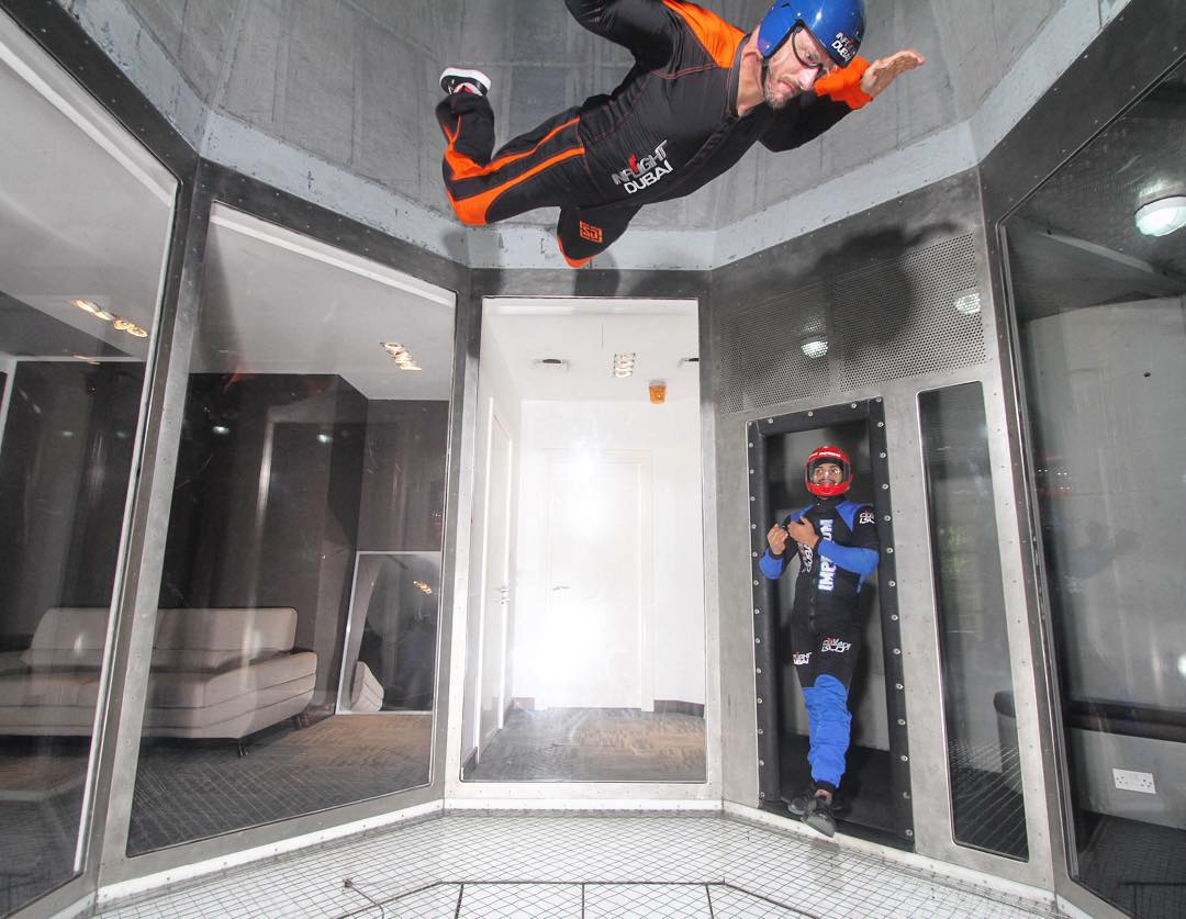 Went to @SkyDiveDubai yesterday for some family fun in the Crown Prince's private indoor skydiving facility. Who knew floating in an air chamber could be so fun!? #sofly #XDubai #Dubai