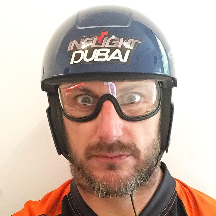 Pre-indoor skydiving selfie. This isn't the kind of helmet and eye wear I am used to. #dork #XDubai #SkyDiveDubai