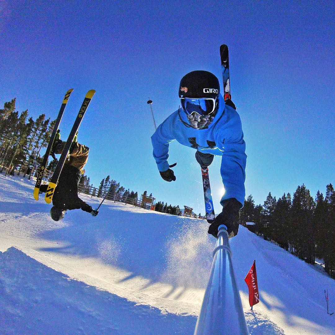 Opening day flips at @breckenridgemtn with @noah_wallace and @ktd619. GoPro HERO4 Session | GoPole Reach #gopro #HERO4Session #gopole #gopolereach #skiing #breckenridge @breckparks