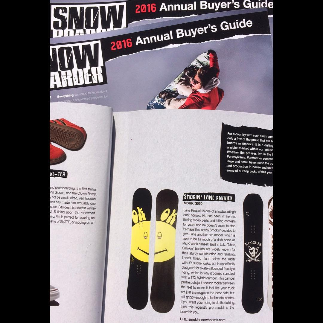 @laneknaack pro model is getting some love this month in @snowboardermag check out the #madeinAmerica write up.  Lanes board is a great skate influenced all around deck, it has TTX - Thrash Rocker, which is a camber dominant rocker making it turn like...