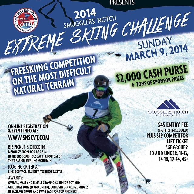 Panda Athlete Carter Snow (featured on poster) is set to lead the charge today in the Smuggler's Notch Extreme Skiing Challenge... There will be a pair of Pandas going home with some stoked shredder today! #TRIBEUP Smuggs!  @cartersnowin...