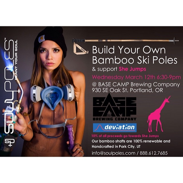 This coming #Wednesday in #Portland we'll be hosting a SheJumps benefit #SoulShop at @BaseCampBrewing with @deviationusa.  This is sure to be a great event for the custom, independent ski industry in Portland.  Come out, grab a pint, build some custom...