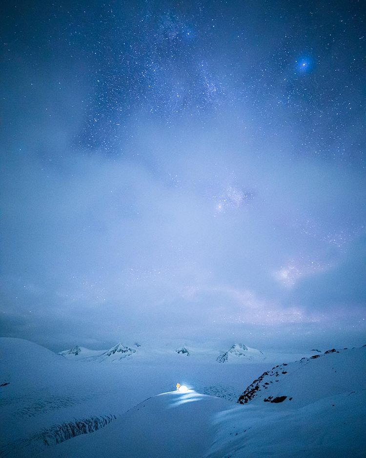 """By far one of the coldest nights of my life but one of the most beautiful… Winter camping high above the Harding ice field in Alaska."" -@taylormichaelburk"