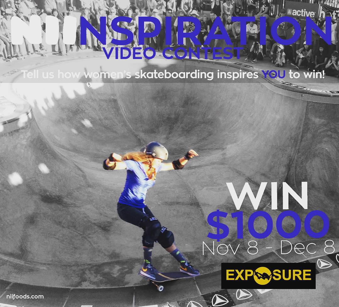 WANT TO WIN $1,000? ANYONE can enter! Make a 1 min video letting us know how women's skateboarding inspires you!  If you are under 16 years old just have someone older upload the video . Click the link in our bio for more info.