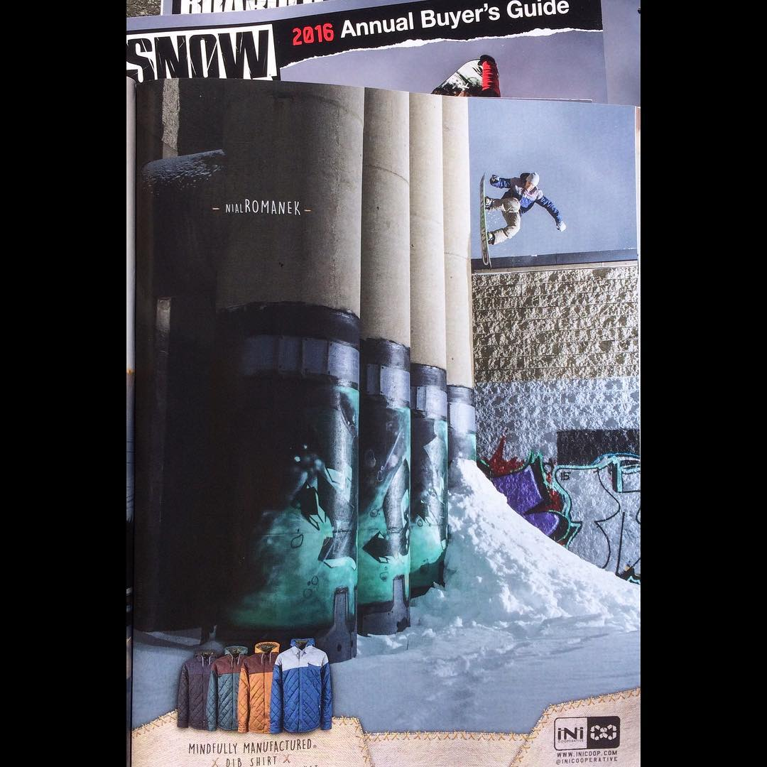@nial_romanek  in the @snowboardermag #BuyersGuide @inicooperative ad. This shot is also in the #INI #Boston #Teaser , you can check that at Snowboardermagazine.com  #AnNIALlator | #ForRidersByRiders | #3yearwarranty | #weareOK
