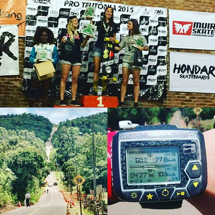 One of the fastest tracks in the world... Brazil's Teutonia Women's Podium: 1. @melbrogni (BRA) 2. @magdub (ARG) 3. @romibessone (ARG)  Melissa went up to 103km/h... Whoa! Congrats ladies, you killed it! Repost from @melbrogni.  #longboardgirlscrew...