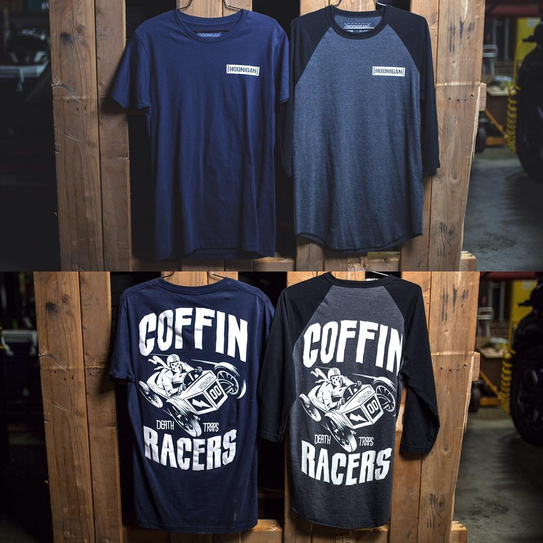 That new Coffin Racers design comes printed on both a short sleeve tee and 3/4 tee raglan. (Hoonigan.com)