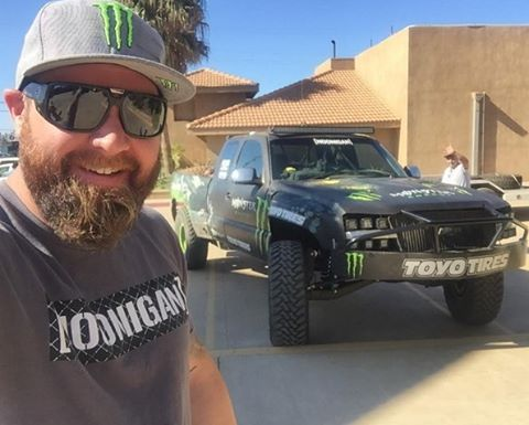 @bjbaldwin in the UV C-bar tee while prerunning around town before the #Baja1000