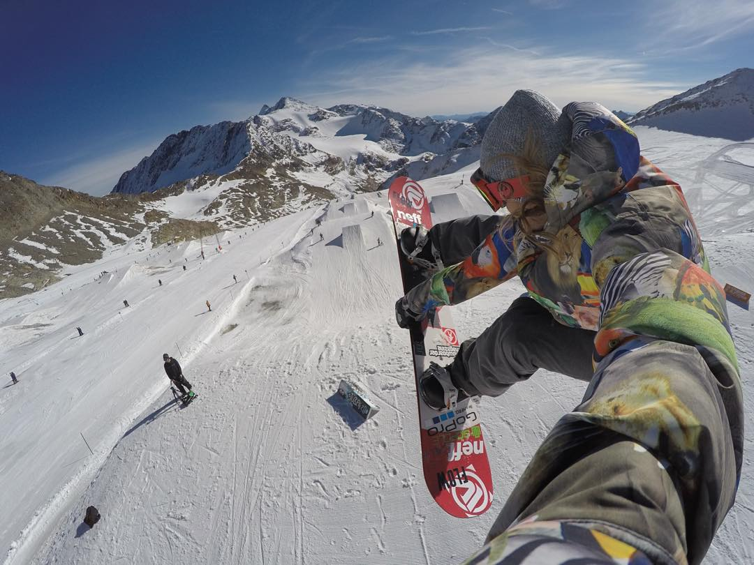 GoPro Featured Photographer and Athlete - @timhumphreys  About the Shot - Backside 540 Selfie at Stubai, Austria: Floating high above the glacier this fall on my #snowboard, @StubaiZoo has the best jumps in the world right now! This image was captured...