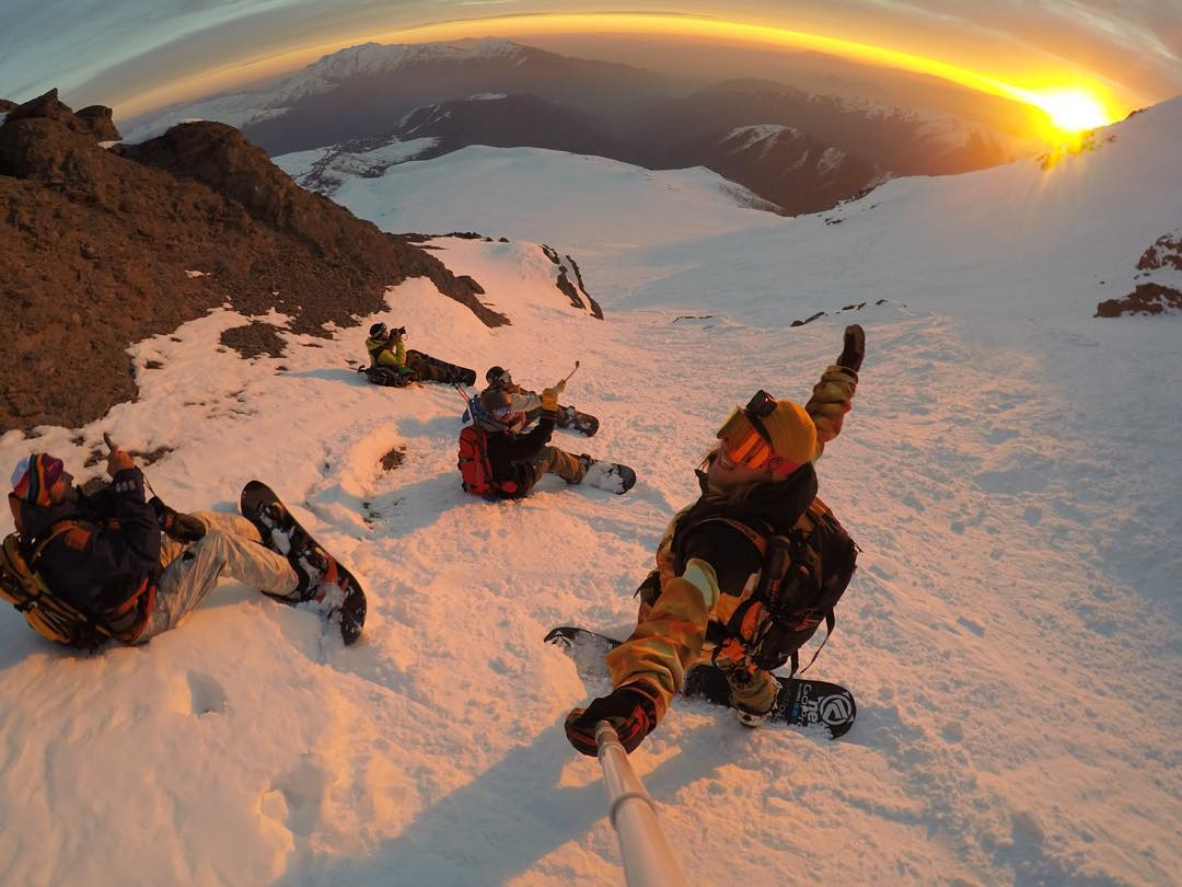 GoPro Featured Photographer and Athlete - @timhumphreys  About the Shot - #Sunset Shredding in Chile: Sometimes after a day of riding you and your crew just need to chill out for a second. While taking a break from this #adventure in #Chile we found a...