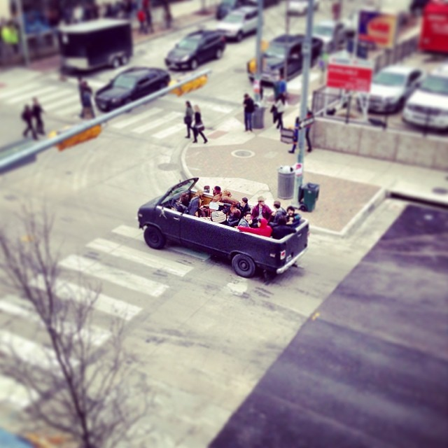 People and vehicle watching at #sxsw is the best. #partyvan