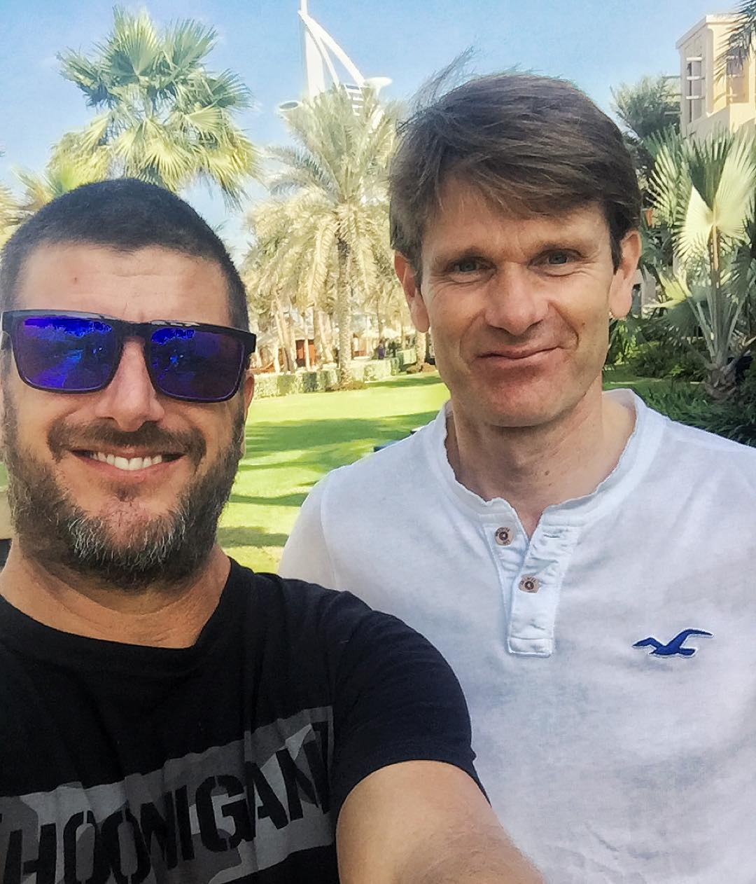 Had a fun surprise breakfast guest this morning: multi-time WRC champ and one of the funniest dudes in rally, Mr. Marcus Gronholm. I have always enjoyed racing and hanging out with this flying Finn. Great to run into him here in Dubai. #flyingfinn...