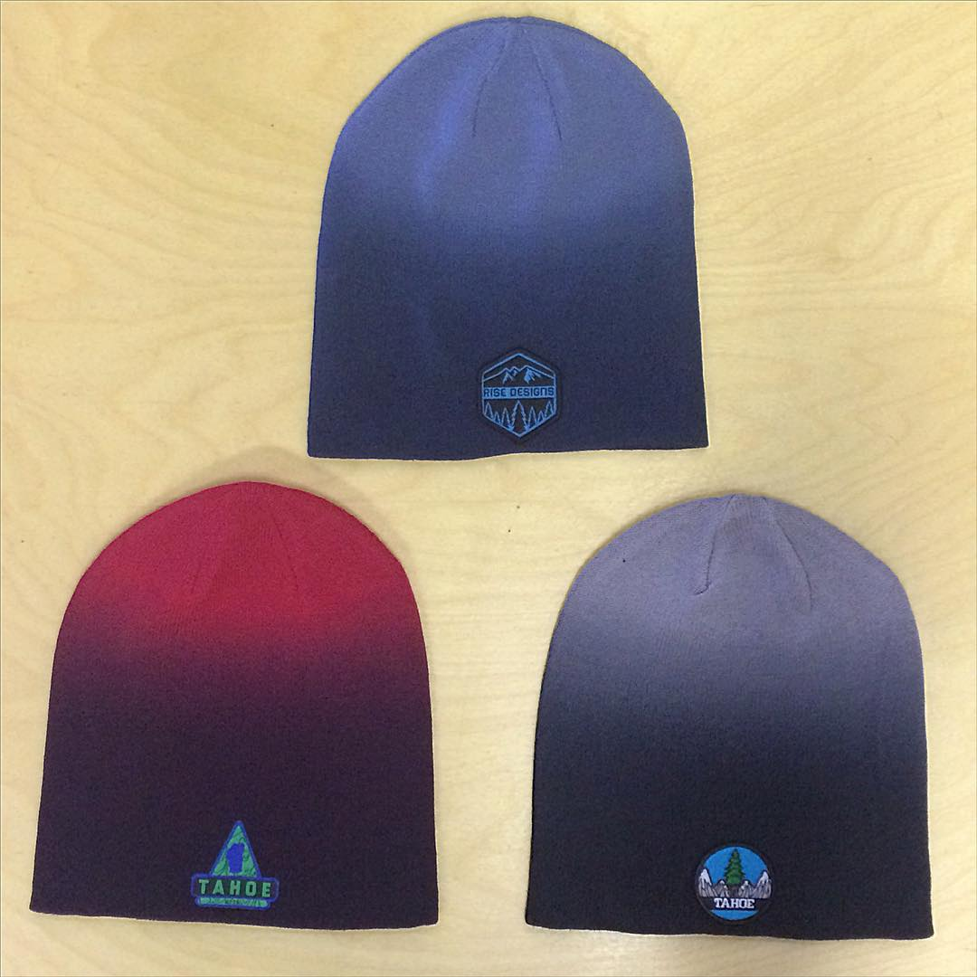 Dip dye beanies to keep your head warm. Stop by the shop or email us if you want one. $15 #risedesigns #risedesignstahoe #riseshop #winter