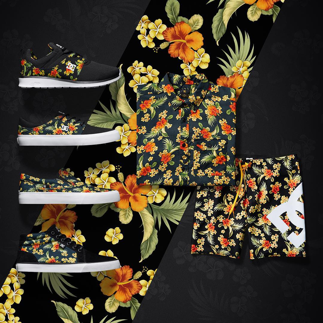 Who says it needs to be warm outside to wear floral. Feel festive from head to toe this season in our tropical floral print collection -> dcshoes.com/floralprint. #dcshoes