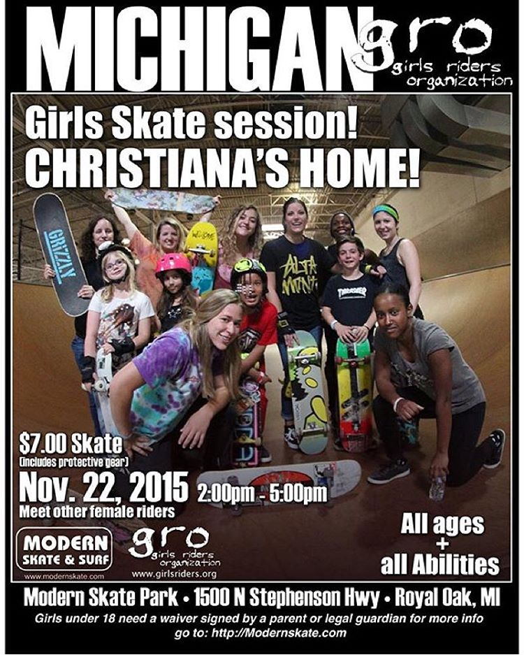 Michigan GRO session tomorrow @modernskate All ages and abilities welcome!!!