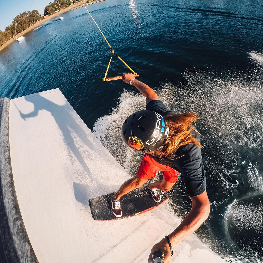 Photo of the Day! Autumn days are little different in California as @brymza rips a toeside frontside boardslide. #GoPro #WakeSkate