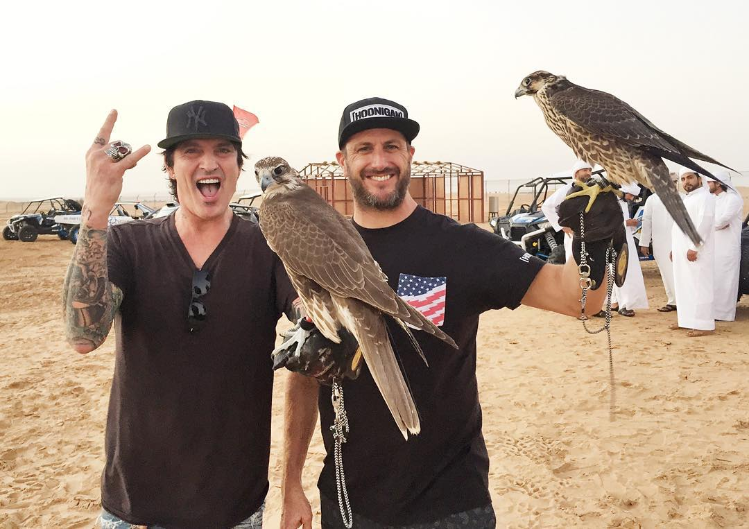 My buddy Tommy Lee (@MrTommyLand of Motley Crüe) joined us for my birthday celebration here in the Dubai desert today. And, as you can see, we hung out with some falcons. #goodtimes #MotleyCrüe #Dubai
