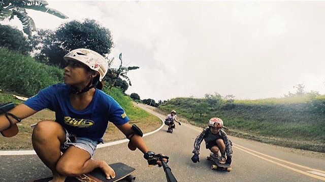 @longboardgirlscrewphilippines on fire! @indayuno on a barefoot ride chased by @daaaniiee & @valereimae. Yeah girls!
