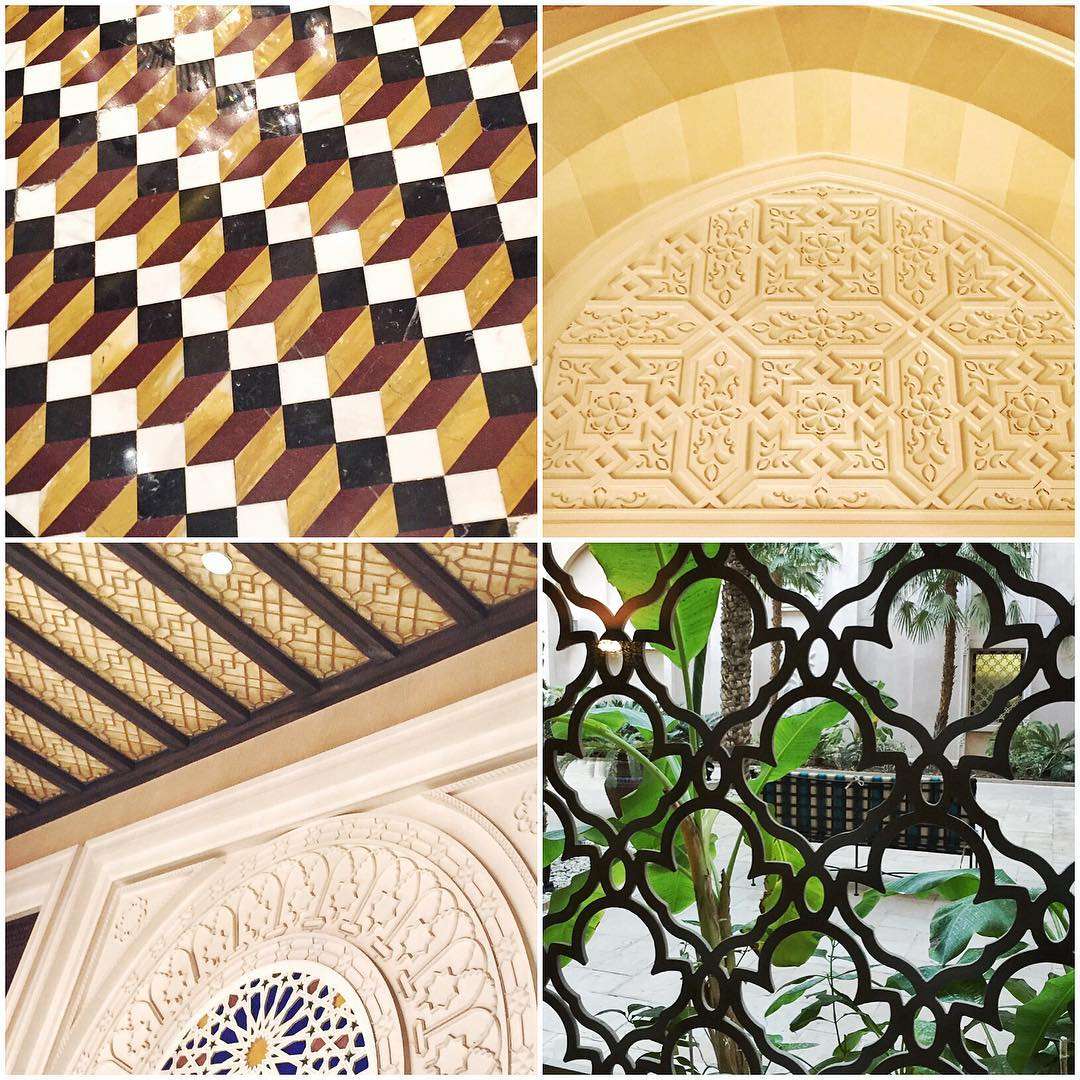 I love the heavy use of patterns inside and outside of buildings here in Dubai. The hotel that I have been staying at this week (the Al Qasr Hotel) has incredible usage of them all over the place, so I snapped a few shots of my favorite ones....