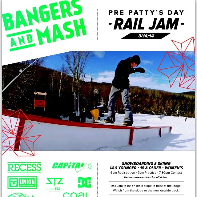 Yeah it's Monday but looks what you have to look forward too! Friday 14th come to @cataloocheeskiarea  and shred with the #catcageterrainpark crew // tons of prizes // music // food drinks etc etc #stzlife #shrednc #railjam #happyshredding #bangersandmash