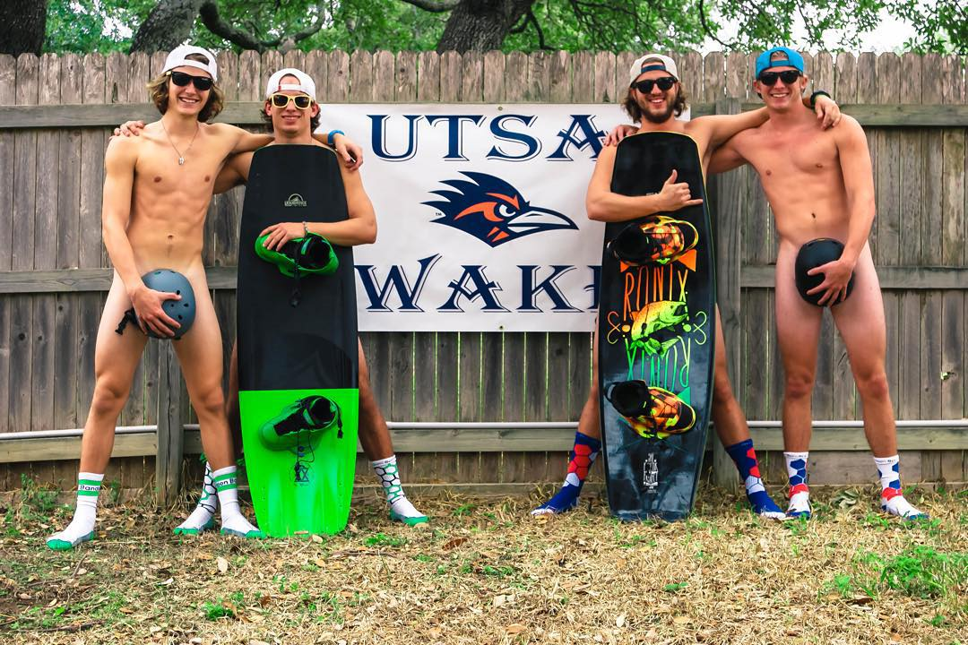 No pants? No #prob. The #gents @utsawake are supporting our monthly mission to save #balls, everywhere. #GrabAPair to #SaveAPair @tylerknebel @surreal_sunglasses #wakeboarding #college #brolife