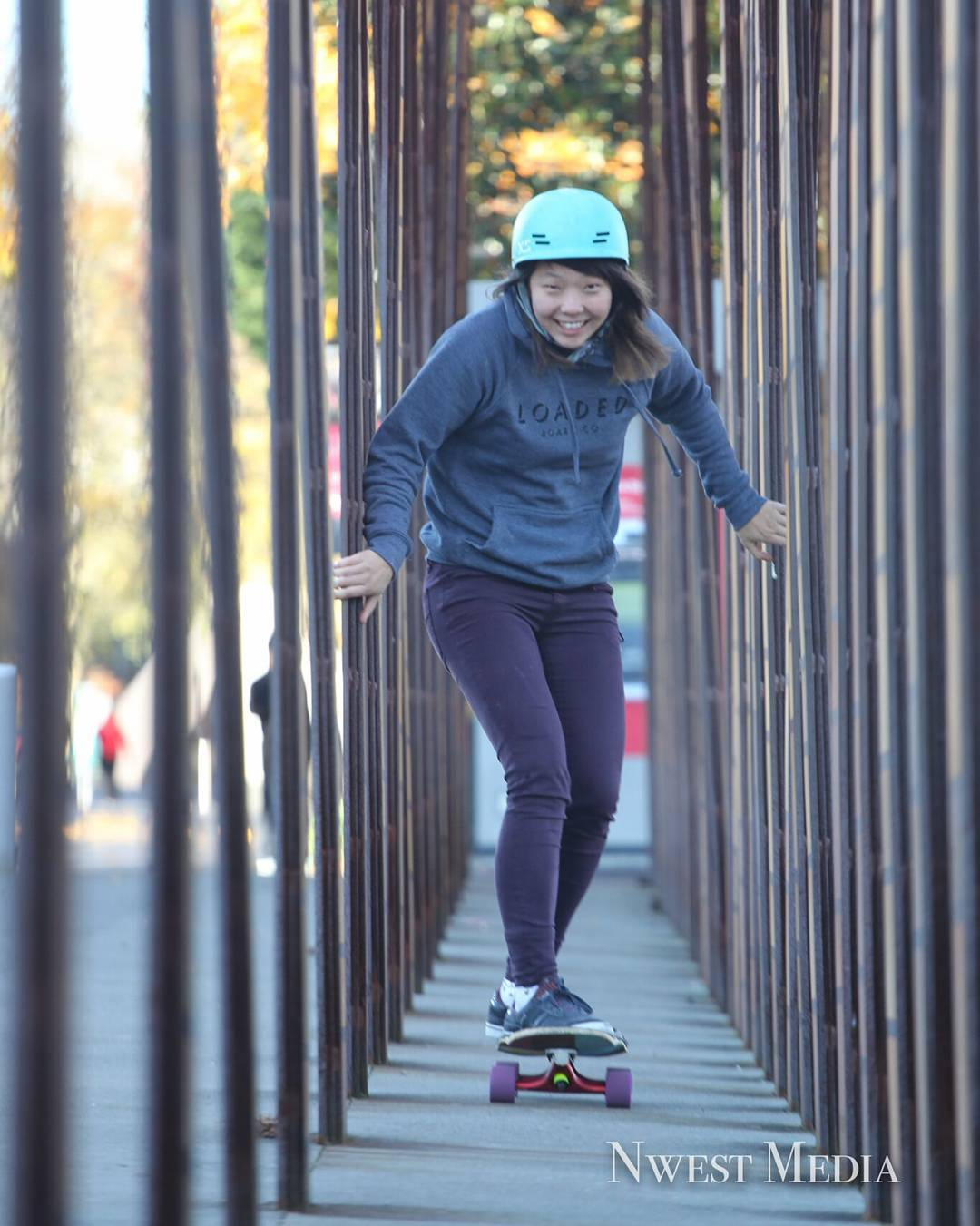 #LoadedAmbassador @iamcindyzhou threads the needle in her new #LoadedBoards Hoodie on a rare dry day in seattle.  Photo: Nwest Media  #Tesseract #LoadedHoodie