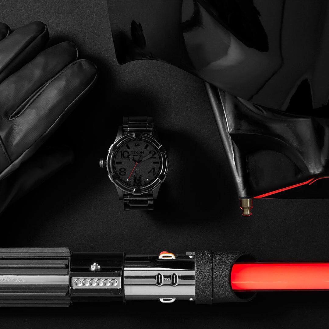The @starwars | #Nixon #DarthVader #5130 features a stainless steel rotating bezel with design lines inspired by Darth Vader's helmet. New and now available. #StarWars #TheForceAwakens