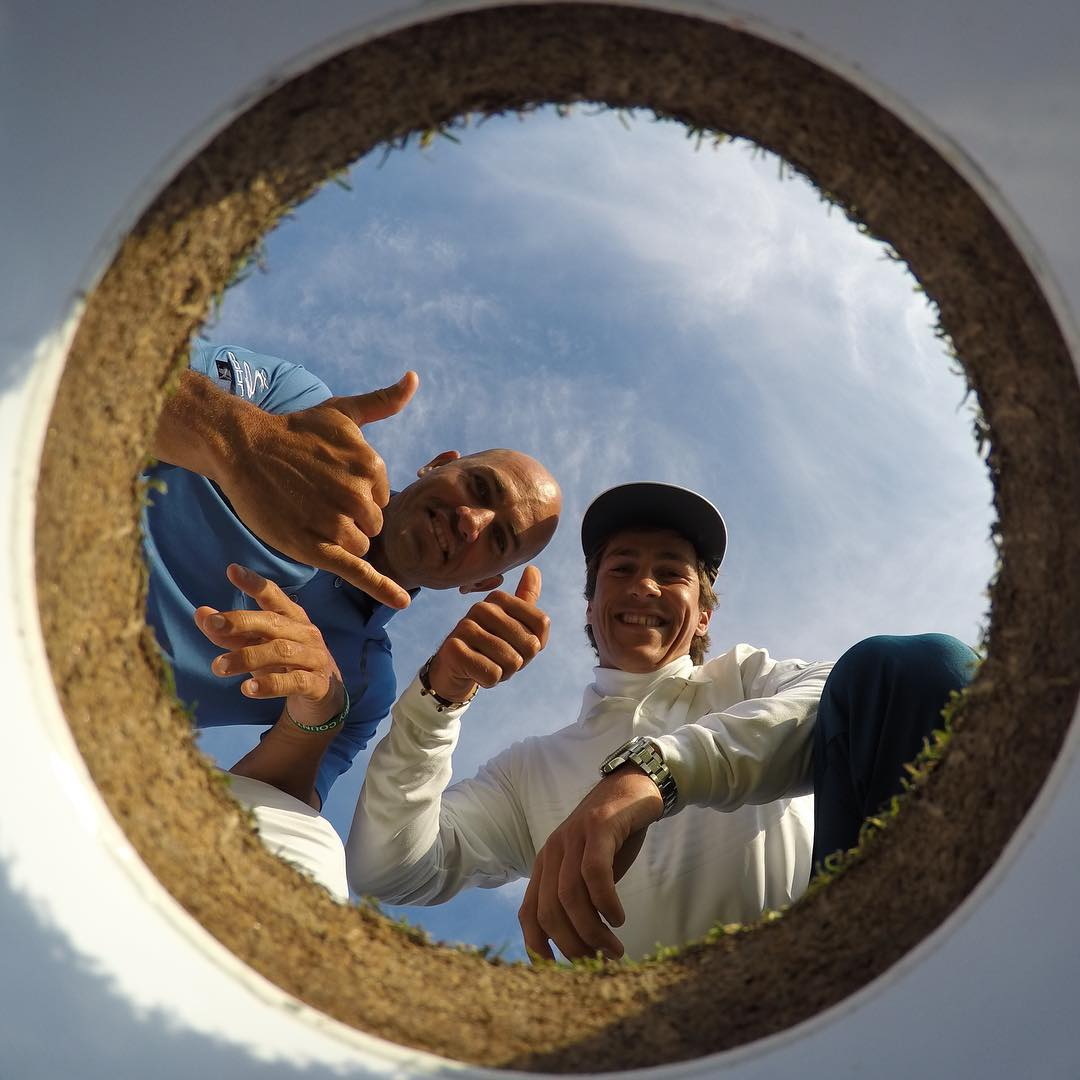 So. Much. Stoke. Surf legend @KellySlater & Pro Golfer @ThorbjornOlesen are all smiles at @TheHomeofGolf! #