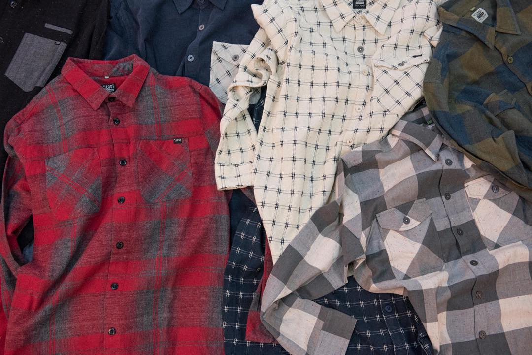 These unfolded flannels we flopped on the floor are now in stores and keep you warm outdoors. #lostclothing