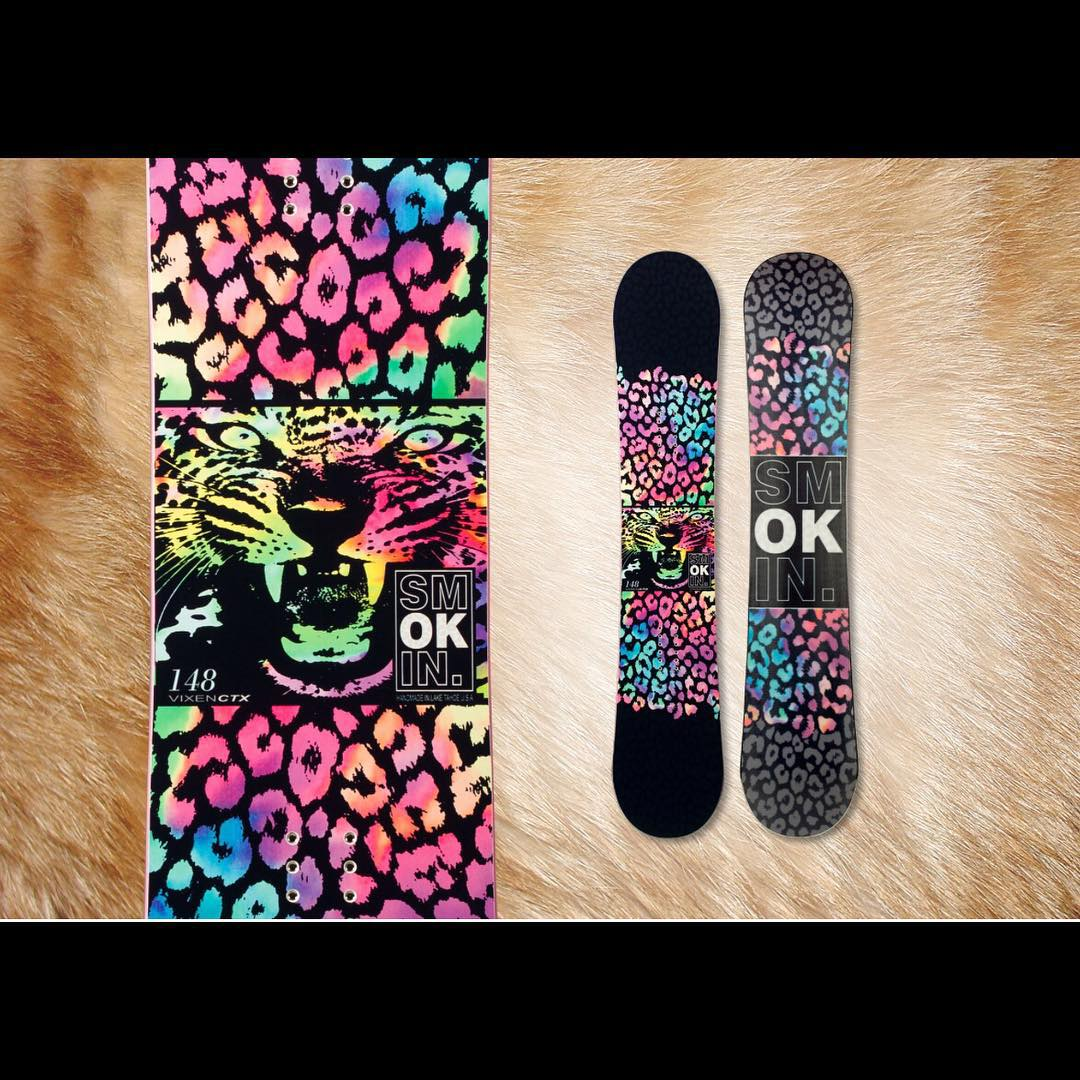 "Our #Vixen is featured at snowboarder.com for one of the ""ultimate meow mix"" boards after ""sifting through the the litter"" of their favorite cat graphic boards this season.  #weareOK 