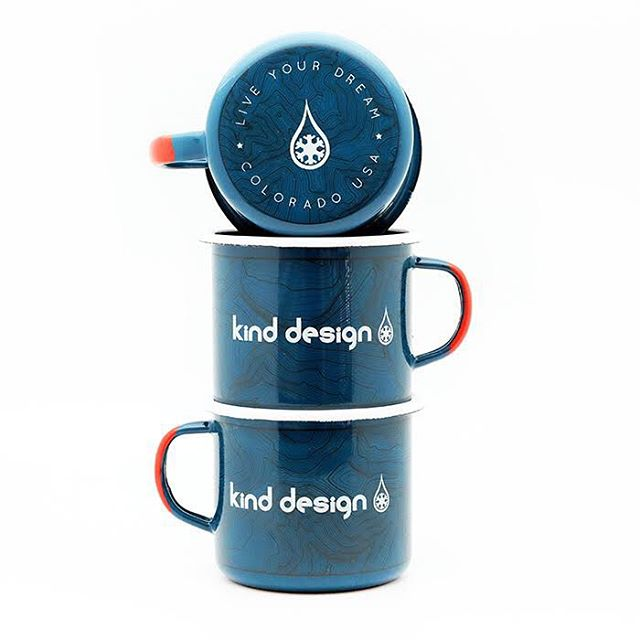 "Enamel Camp Mugs shipping in 2-3 weeks!  Order now to have them for Christmas... use ""kind30"" for 30% off everything at www.kinddesign.co for your holiday shopping! #kinddesign #enamelcup #madeinpoland #coloradotopography #liveyourdream"