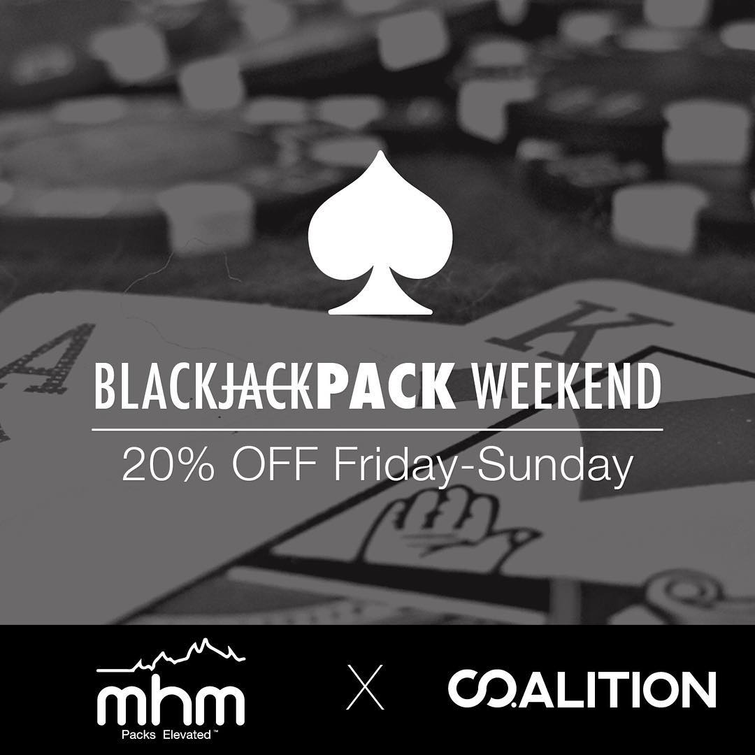 20% OFF ALL @mhmgear and @co.alition PACKS Friday-Sunday. PLUS MORE DETAILS TO COME! We're gamblers. So we created a deal for this weekend that will reward some of you (very) handsomely. Stay tuned for the full sale deets! #blackfriday #deals