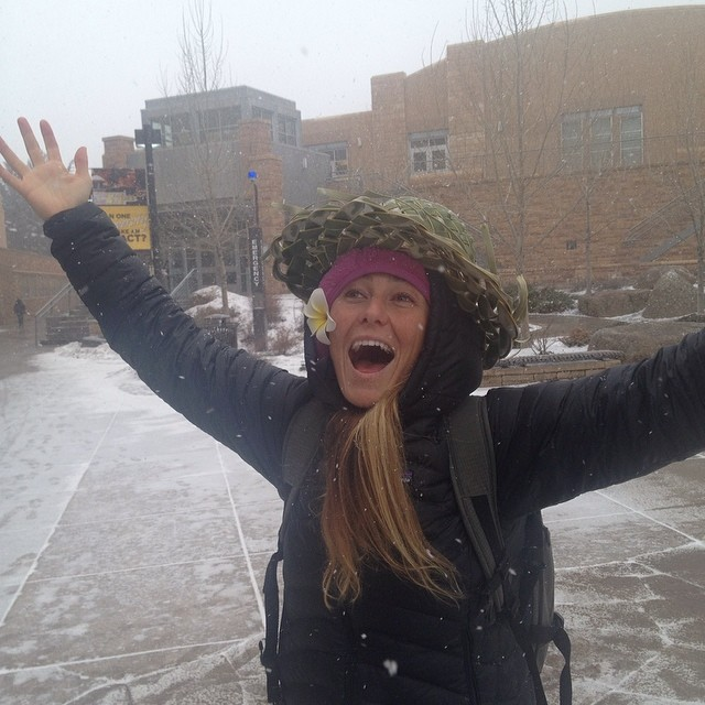It's snowing!!! I just learned that a coconut hat is essential to surviving a blizzard!;-) #UW #schooltours @patagonia  Photo by @hails704