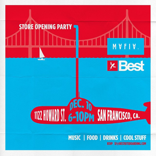 After two months of hard work, we're proud to invite you all to our new workshop / retail space in SF in collaboration with @bestkiteboarding. Join us on Thursday December 10th from 6pm to 10pm for a memorable night with great food, music, and drinks!...