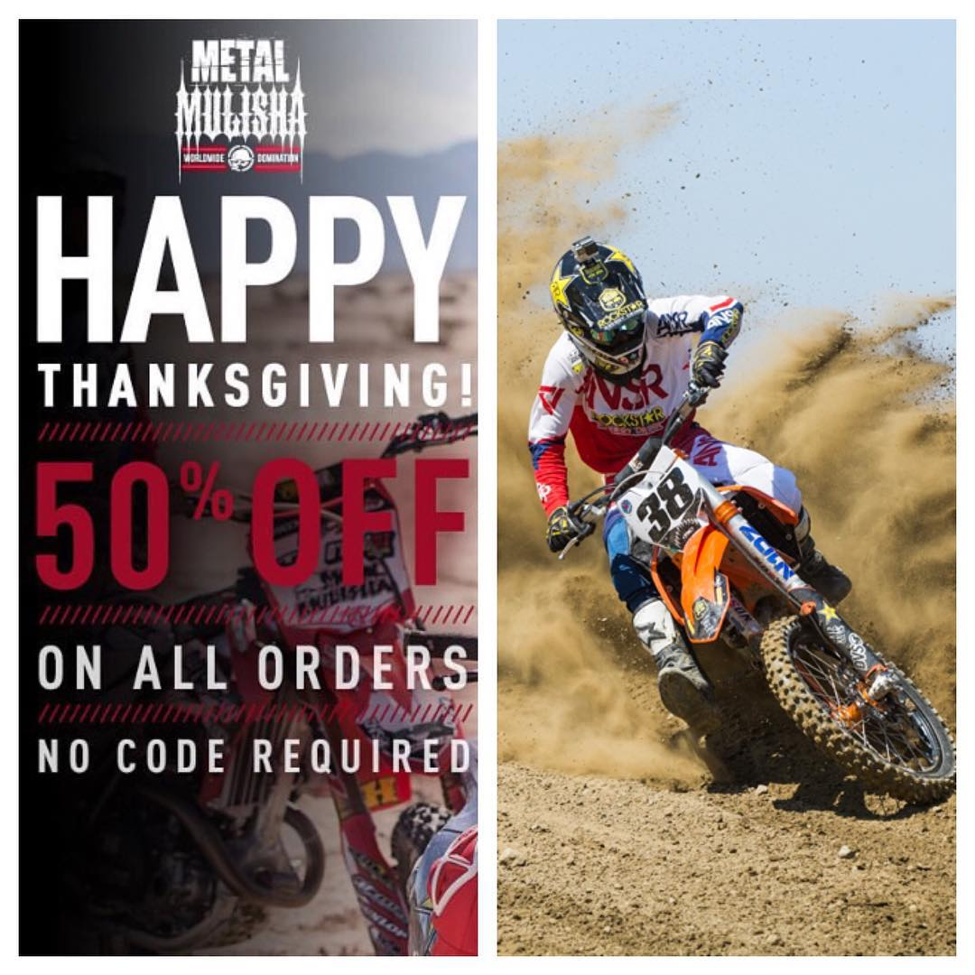 Happy thanks giving everyone! To celebrate @metalmulisha is having be a sale today for %50 off on all orders