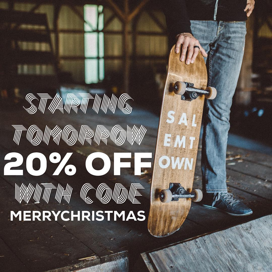 Get 20% off your purchase with code MERRYCHRISTMAS. Starts tomorrow.