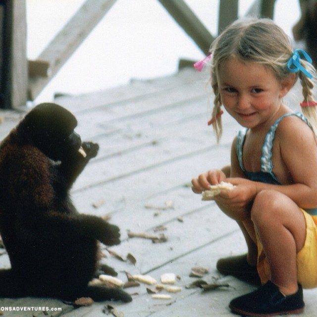 My first friend in the Amazon jungle :-) His name was Billy the monkey and he had a sister named Milly...I should really bring back the pigtail braids don't you think? @patagonia photo by my papa @yoga_adventure