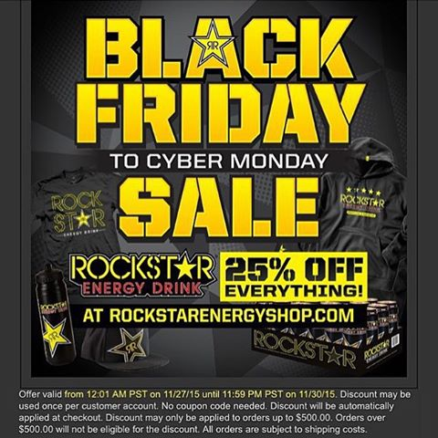 Black Friday through cyber Monday @rockstarenergy is doing %25 off everything! ⭐️