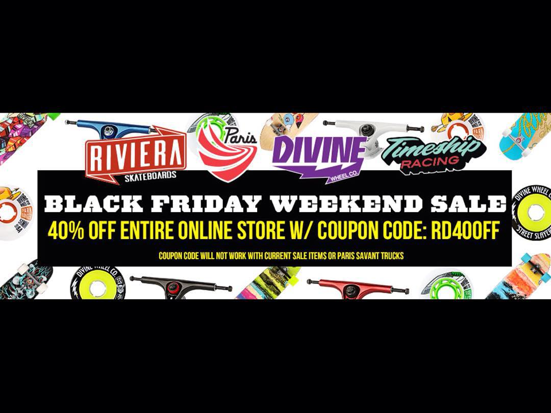 Visit resourcedist.com for your post turkey coma deals on your favorite Riviera gear! #skateriviera  #rivieraskateboards