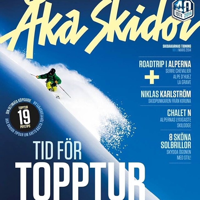 Congrats to #dpsskis Koala @pierssolomon for nabbing the latest cover of @akaskidormag! Photo by @oskar_enander.  #powtime #SpoonTechnology.