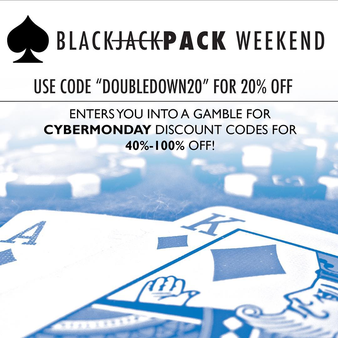 "Are you feeling lucky? Use the code ""DOUBLEDOWN20"" all weekend for 20% OFF all @mhmgear and @co.alition packs. In your confirmation email, you'll receive another code good for 40-100% OFF for #cybermonday!! Get yourself a pack and get one as a..."