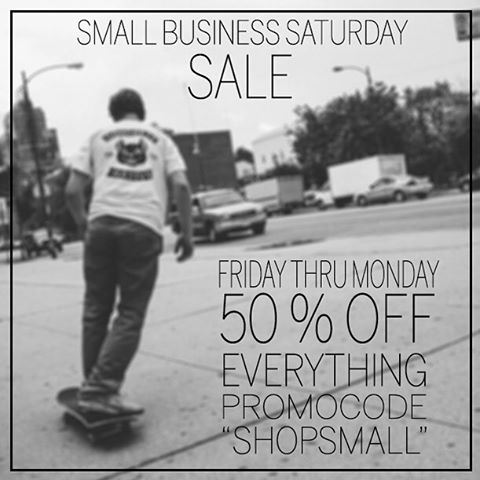 "50% OFF OUR ENTIRE STORE THROUGH MONDAY!! That's right, head over to Concretenative.com and use promo code ""ShopSmall"" to receive half off your entire order! Hurry! Before we change our minds! #smallbizsat #blackfriday #concretenative #sk8life..."