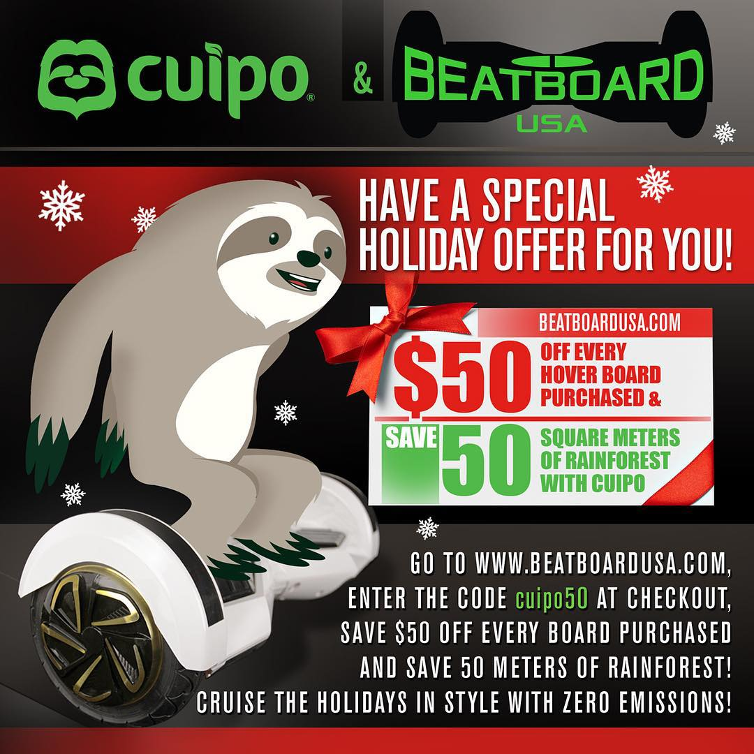 #BlackFriday is here! And so is your chance to save money and save more meters with the only #rainforest saving #hoverboard! #Cuipo #Beatboard #SaveRainforest #CruiseInStyle #holidaygiftguide www.beatboardusa.com
